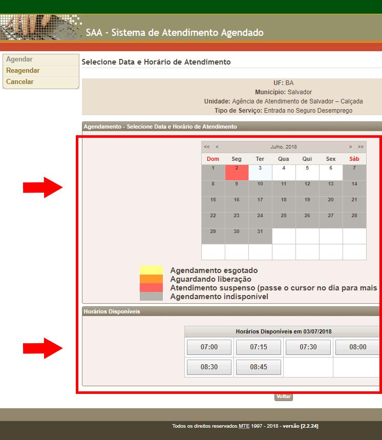 Agendar data e horário do Seguro Desemprego