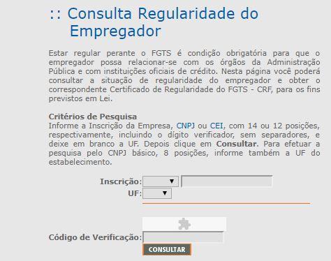 Consulta Certidão FGTS