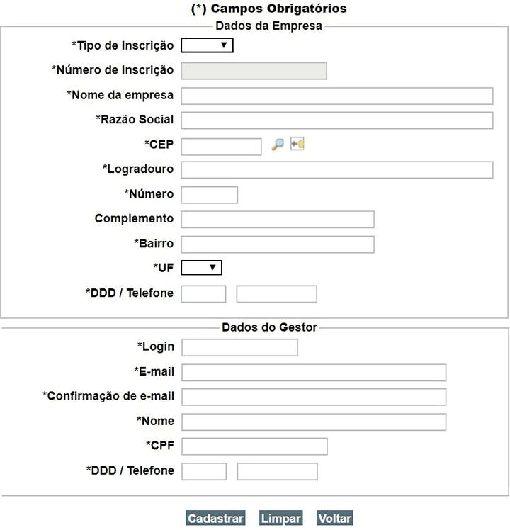 Cadastro Gestor Empregador WEB
