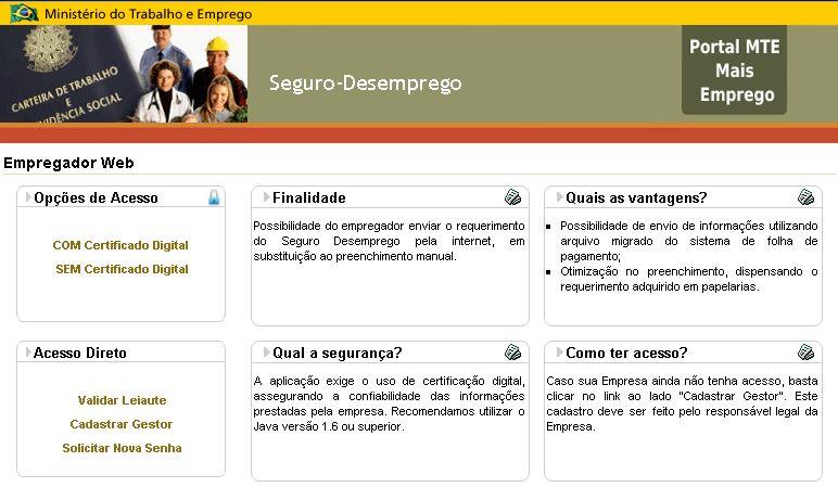 Empregador WEB Seguro Desemprego